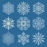 Set of Snowflakes. Fine winter ornament. White snowflake collection Royalty Free Stock Photo