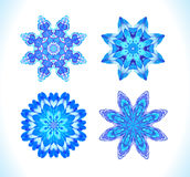 Set of snowflakes, fractals or mandalas great for Christmas or ethnic use. Stock Image
