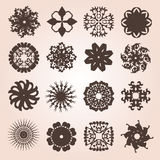 Set of 16 snowflakes. Set of 16 hand drawn decorative snowflakes for your design Stock Photos