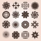 Set of 16 snowflakes Stock Photos