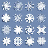 Set of 16 snowflakes Stock Photography