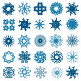 Set of 25 snowflakes. Set of 25 hand drawn decorative snowflakes for your design Stock Photography