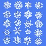 Set of snowflakes. Holiday collection. Snowflakes collection on blue background. Vector illustration. stock illustration