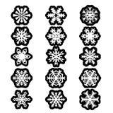 Set snowflakes icons on white background, vector illustration Royalty Free Stock Image