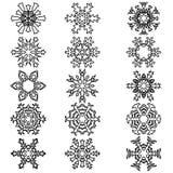 Set snowflakes icons on white background, vector illustration Royalty Free Stock Photos