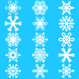 Set snowflakes icons on white background, vector illustration Stock Image