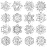 Set snowflakes icons on white background, vector illustration Royalty Free Stock Photo