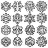 Set snowflakes icons on white background, vector illustration Royalty Free Stock Images