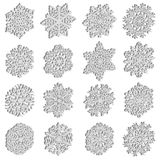 Set snowflakes icons on white background, vector illustration Royalty Free Stock Image