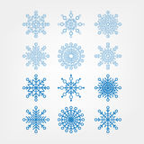 Set snowflakes isolated Stock Photography
