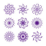 Set of snowflakes isolated on white back Royalty Free Stock Photos