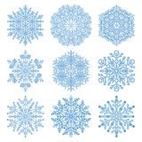Set of Snowflakes. Set of light blue snowflakes. Fine winter ornament. Snowflakes collection. Snowflakes for backgrounds and designs Stock Photography