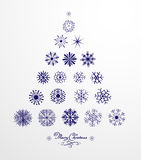 Set of  snowflakes. Marry Christmas calligraphy Royalty Free Stock Photo