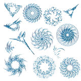 Set of snowflakes for the new year. Set of snowflakes for the new year . Collection of linear round figures, as the rays of the sun. Blue radial objects on the Royalty Free Stock Images