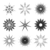 Set of snowflakes for the new year 2016. Set of linear round fi. Gures, as the rays of the sun. black radial objects on the white background in vector Royalty Free Stock Images