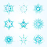 Set of snowflakes for the new year 2016. Set of linear round fi. Gures, as the rays of the sun. Blue radial objects on the white background in vector. Decoration Stock Photos
