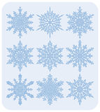 Set of snowflakes Nr1. Set of nine different highly detailed snowflakes Royalty Free Stock Photo