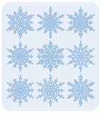 Set of snowflakes Nr2. Set of nine different highly detailed snowflakes Stock Image