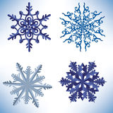 Set of snowflakes in origami style Royalty Free Stock Photo