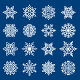 Set of Snowflakes Ornament. Set of Snowflakes Symbols on Blue Background. Cut Ready Vector illustration Stock Images