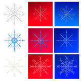 Set of snowflakes on red backgrounds Stock Photography