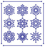 Set of snowflakes with rounded tips Royalty Free Stock Photos