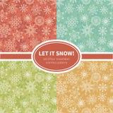 Set of snowflakes seamless patterns Stock Image