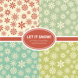 Set of snowflakes seamless patterns Royalty Free Stock Image