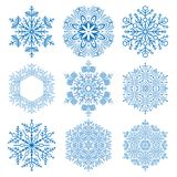 Set of Snowflakes. Set of blue snowflakes. Fine winter ornament. Snowflakes collection. Snowflakes for backgrounds and designs Royalty Free Stock Photography
