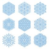 Set of Snowflakes. Set of blue snowflakes. Fine winter ornament. Snowflakes collection. Snowflakes for backgrounds and designs Stock Photos