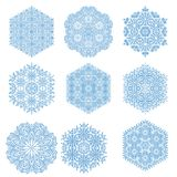 Set of Snowflakes. Set of blue snowflakes. Fine winter ornament. Snowflakes collection. Snowflakes for backgrounds and designs Royalty Free Stock Photos