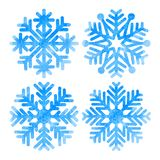 Set of snowflakes. Set of blue watercolor snowflakes isolated on white background. Vector illustration Stock Photo