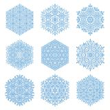 Set of Snowflakes. Set of light blue snowflakes. Fine winter ornament. Snowflakes collection. Snowflakes for backgrounds and designs Royalty Free Stock Photo