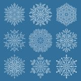 Set of Snowflakes. Set of white snowflakes. Fine winter ornament. Snowflakes collection. Snowflakes for backgrounds and designs Royalty Free Stock Photos