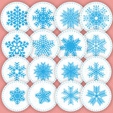 Set of snowflakes stickers. This illustration can be used as a p Stock Photos
