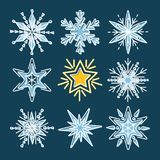 Set of snowflakes in thin line style Stock Photo