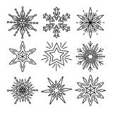 Set of snowflakes in thin line style Royalty Free Stock Images