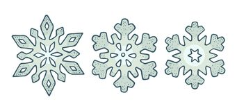 Set snowflakes with three different ornaments. Vector engraving stock illustration
