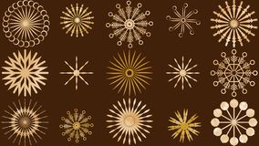 A set of snowflakes in vector format. Golden, artistic snowflakes, over a deep brown background. suitable for decoration and design projects both web and in stock illustration