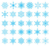 Set of 36 snowflakes. Vector illustration Royalty Free Stock Image