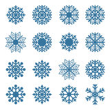 Set of snowflakes, vector illustration. Royalty Free Stock Photo