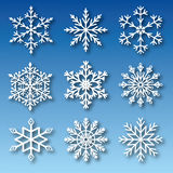 Set of snowflakes vector. Set of nine snowflakes. Vector,  objects Royalty Free Stock Photography