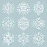 Set of Snowflakes. Set of white snowflakes. Fine winter ornament. Snowflakes collection Royalty Free Stock Image