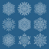 Set of Snowflakes. Set of white snowflakes. Fine winter ornament. Snowflakes collection. Snowflakes for backgrounds and designs Stock Photos