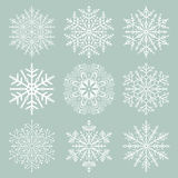 Set of Snowflakes. Set of white snowflakes. Fine winter ornament. Snowflakes collection. Snowflakes for backgrounds and designs Stock Image
