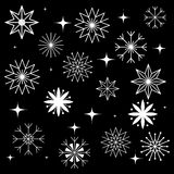 Set of Snowflakes. White Snowflakes on Black Background.  Elements for Christmas and New Year Design Stock Images