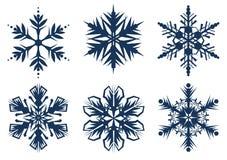 Set of 6 snowflakes Stock Photos