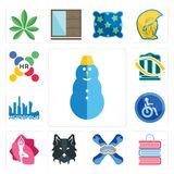 Set of snowman, book shop, snowboard, wolf face, yoga studio, disabled, metropolis, bank transfer, human resources icons. Set Of 13 simple  icons such as snowman Stock Images