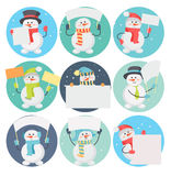 Set of Snowman Cartoons with Blank Message Board Royalty Free Stock Photos
