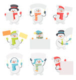 Set of Snowman Cartoons with Blank Message Board Stock Image